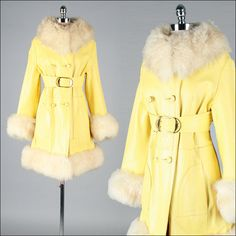 Vintage 1970s Coat . Yellow Leather . Shearling Fur . Pockets . Belt . M L . 2730. $215.00, via Etsy.
