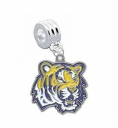 "LSU Tigers Tiger Head Logo Charm with Connector - Universal Slide On Charm - ""Classic & Original Style"" Fits: Pandora, Troll, Biagi & More! Perfect For Custom Bracelets, Necklaces and DIY Jewelry CustomCharms. $12.99. Fits: Pandora, Chamilia, Biagi, Troll & More. UNIVERSAL Slide On Charm - Does Not Snap or Scew in Place, SLIDE ON CHARM. Officially Licensed Team Logo Charm. Perfect for Custom Bracelets & Necklaces. Save 68% Off!"