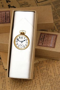 A crisp white cotton handkerchief with a vintage pocket watch print. Vintage Pocket Watch, Handkerchiefs, Men's Accessories, Fathers Day Gifts, White Cotton, Crisp, Pure Products, Men Accessories, Father's Day Gifts