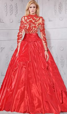 Ball Gown High Neck Collar Red Taffeta Lace Long Sleeve Prom Dress#reddress#promdress Prom Dresses 2015, Prom Dresses Long With Sleeves, Prom Dresses For Sale, Petite Bridesmaids Dresses, Plus Size Bridesmaid, Bride Dresses, Inexpensive Prom Dresses, Lace Bodice, Formal Gowns