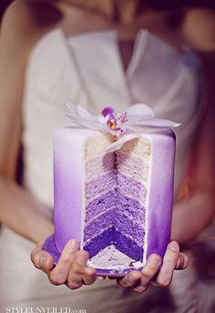 lavender ombre wedding cake, chiffon wedding dresses, garden wedding ideas #2014 Valentines day decor #outdoor wedding ideas www.dreamyweddingideas.com