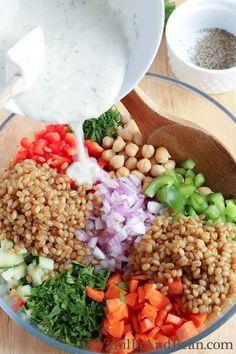 Garbanzo Summer Salad with Creamy Dill Dressing