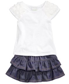First Impressions Rosette-Sleeve Top & Denim Scooter Skirt, Baby Girls (0-24 months), Only at Macy's - Baby Girl (0-24 months) - Kids & Baby - Macy's