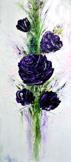 Voilet Flowers - Emilia Art, Oil on Canvas, 30x70 cm