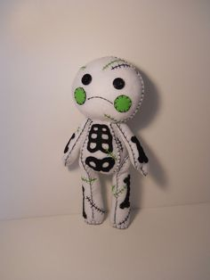 Felt stitched cute white zombie corpse plush by SouthernGothica, $45.00