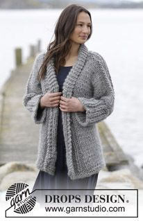 """Knitted DROPS jacket in garter st with rib and shawl collar in """"Polaris"""". Size: S - XXXL. ~ DROPS Design"""