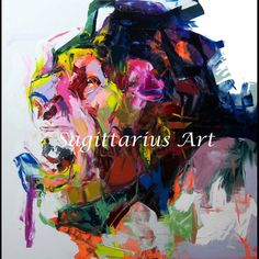 Hand Painted abstract Cool face Art Abstract Oil Painting Canvens Francoise Nielly designer Artwork Bedroom hallway Fine Art228