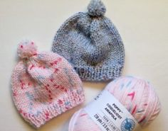 Free Knitting Pattern - Quick Knit Newborn Baby Hat. Easy for beginners too!