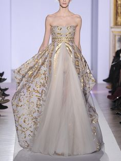 "Zuhair Murad Spring 2013 Couture  --  dream gown, but the ""crotch shot"" is disconcerting: it needs a slip or lining"