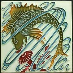 Hasselt Art Nouveau fish tile