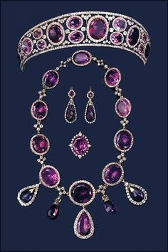 Queen Mary's Amethyst Parure.  The necklace has been sold; Anna Wintour has been seen wearing it.