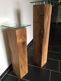 Solid decorative columns made of oak wood with glass plates in furniture & living, decoration . Solid decorative columns made of oak wood with glass plates in furniture & living, decoration, othe Living Furniture, Wood Furniture, Furniture Design, Table En Bois Diy, Glass Shelves, Wood Art, Wood Crafts, Wood Projects, Hallway Designs