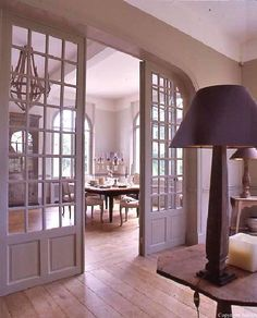 love the french pocket doors. I'd love to have pocket doors all through my house. Maybe because it's because of my childhood home. French Pocket Doors, French Doors, Room Doors, Closet Doors, Windows And Doors, My Dream Home, Family Room, Living Spaces, Sweet Home