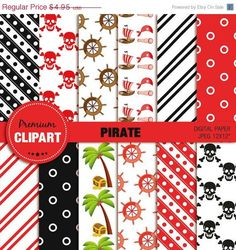 50% OFF SALE Pirate digital paper, pirate girl digital paper, pirate party, scrapbooking, commercial use - PAP141 by PremiumClipart on Etsy