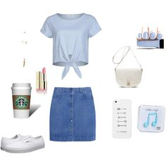 A fashion look from February 2015 featuring blue top, short blue skirt and white leather sneakers. Browse and shop related looks.