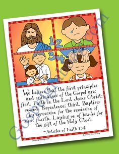 $0.75 - ARTICLE OF FAITH 1:4 - GOSPEL PRINCIPLES: Faith, Repentance Baptism, Holy Ghost: Scripture Poster, Articles of Faith 1:4, LDS Lesson Activity for: Primary, youth, and family home evening Doctrine And Covenants, Faith Scripture, Family Home Evening, Monthly Themes, Youth Activities, Holy Ghost, Kids Learning, Holi, How To Memorize Things