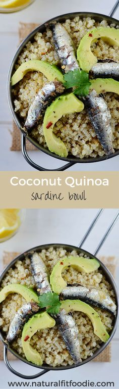 This Coconut Quinoa Sardine bowl is an easy, quick and healthy weeknight dinner that won't break the bank.