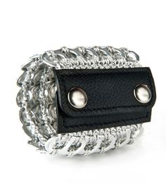 Leather Cuff $49.00 Handmade with recycled metal w leather snap closure. #leather&metal #leathercuff