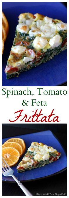 Spinach, Tomato & Feta Frittata is a simple meatless meal for breakfast, brunch, or breakfast for dinner (aka brinner) Vegetarian Recipes, Cooking Recipes, Healthy Recipes, Vegetarian Bacon, Brunch Recipes, Breakfast Recipes, Breakfast Casserole, Vegetarian Breakfast, Breakfast Frittata
