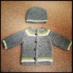 Baby Boy Crochet Sweater and Hat Set 0-3 months