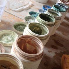 Mixing glazes & slips for pottery & ceramics.