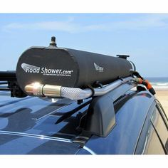 Roof-mounted, solar-heated water supply for cars and trucks. Optional pressurization. Brilliant.