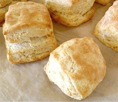 For best rise, biscuit edges should all be freshly cut (not patted, as the edges of my square biscuits were).  See how nicely the biscuit in the back rose – with its cut edge – compared to the biscuit in the foreground, with its uncut edge?
