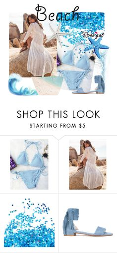 """Scalloped String Bikini- Contest"" by mercija ❤ liked on Polyvore featuring Stuart Weitzman and Paige Gamble"