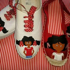 Zapatillas de nena y chica pintadas a mano. Shoes girls and women painthand.