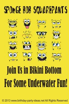 Sponge Bob Squarepants birthday invitation wording. #Sponge Bob Squarepants #birthday #invitation #wording