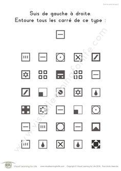Dans les fiches de travail « Suivi de carré de base » l'élève doit trouver tous les carrés identiques à ceux de l'exemple en haut de la page.