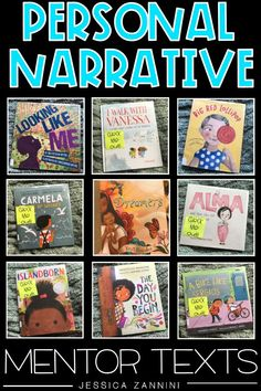 Looking for new and diverse personal narrative mentor texts? Here are some great choices to use to spark a variety of ideas for your next personal narrative writing lesson. Great read alouds for any elementary classroom. Teaching Narrative Writing, Writing Mentor Texts, Personal Narrative Writing, Personal Narratives, Informational Writing, Persuasive Writing, Kindergarten Writing, Writing Lessons, Writing Activities