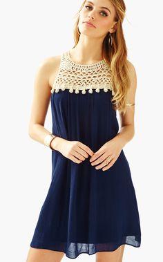 The Rachelle Dress in True Navy $198 www.pinkgreenville.com