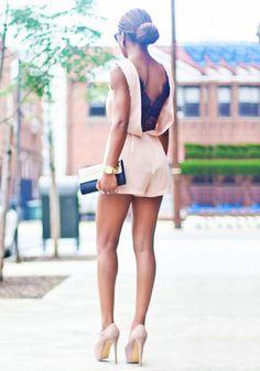 V Back Lace Apricot - Sexy V Back Lace