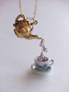 I'd like a silver teapot with tea coloured bead drops