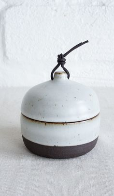 Len Carella Rounded Canister with Leather Tie