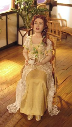 Rose. Looking just as she does in the film! The Titanic breakfast scene.          pic 2/2. (Full breakfast scene on miniature vignette board)