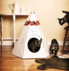 Since the love for paper and cardboard is innate to cats, your pet will surely adopt their new cabin and will soon call it 'Home Sweet Home'! The teepee is also suitable for small furry friends like domestic rabbits, ferrets and small dogs. Link here.