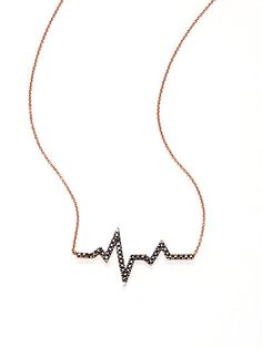 Diane Kordas - Black Diamond & 18K Rose Gold Heartbeat Necklace - Saks.com