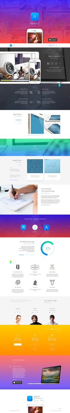Appica 2 - App Showcase Template • Download ➝ https://themeforest.net/item/appica-2-app-showcase-template/10351624?ref=pxcr