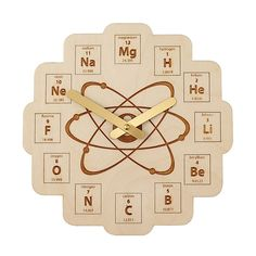 Periodic Table Clock $45 at uncommon goods but I bet I could print something similar and put it inside a normal clock