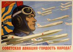 Soviet Aviation Pride of People USSR Kokorekin, 1958 - original vintage poster by A. Kokorekin listed on AntikBar.co.uk