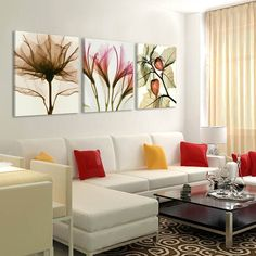 Cheap the paintings, Buy Quality canvas painting directly from China flower painting Suppliers: 3 Panels Canvas Painting modern on the wall Picture Living room and bedroom art decorative pictures flower paintings No Frame Bedroom Art, Living Room Bedroom, Living Room Decor, Bed Room, Living Room Pictures, Wall Art Pictures, Salon Pictures, Living Room Modern, Living Room Designs