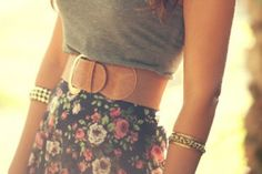 Belt and floral skirt