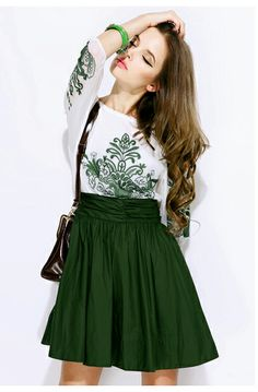 TS Vintage Print Embroider Slim Cut Swing Dress Simple Dresses, Dresses For Work, Summer Dresses, Dress Work, All Fashion, Fashion Outfits, Fashion Coat, Vintage Fashion, White Feather Skirt