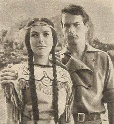 Terence Hill (Mario Girotti) als Robert Merril und Karin Dor als Ribanna in Winnetou II