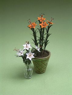 Lily Paper Flower Kit for 1/12th scale by TheMiniatureGarden
