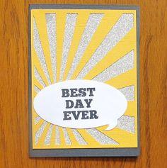 Handmade Card- Yellow Congratulations Gift Card/Money Holder (Best Day Ever!)