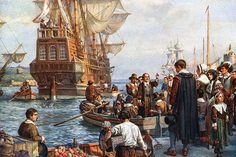 Pilgrim Fathers: In American colonial history, settlers of Plymouth, Mass., the first permanent colony in New England Of the 102 colonists, 35 were members of the English Separatist Church. Bbc History, Ap World History, American History, Family History, History Facts, Mayflower Compact, Pilgrim Fathers, Plymouth Colony, Plymouth Rock
