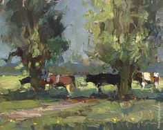 LANDSCAPE Glorious Shade and Cows - Paintings by Roos Schuring Painter Pleinair